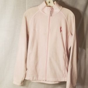 Light pink Columbia fleece jacket cancer ribbon